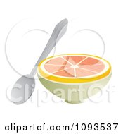 Clipart Halved Grapefruit And Spoon Royalty Free Vector Illustration by Randomway