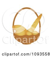 Clipart Basket Of Bread Royalty Free Vector Illustration