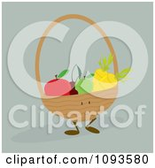 Clipart Basket Character Of Produce - Royalty Free Vector Illustration by Randomway #COLLC1093580-0150