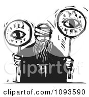 Clipart Blind Man Holding Two Eyes On Sticks Black And White Woodcut Royalty Free Vetor Illustration