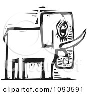 Clipart Elephant Black And White Woodcut Royalty Free Vetor Illustration by xunantunich