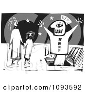 Clipart Puppet Popping Out Of A Hatch In Front Of Two People Black And White Woodcut Royalty Free Vetor Illustration by xunantunich