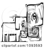 Clipart Mother And Baby Elephant Standing Head To Head Black And White Woodcut Royalty Free Vetor Illustration