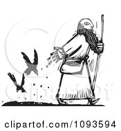 Clipart Man Dropping Seed For Crows To Follow His Path Black And White Woodcut Royalty Free Vetor Illustration by xunantunich
