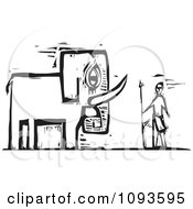 Clipart Indian Man And Elephant Black And White Woodcut Royalty Free Vetor Illustration