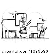 Mother And Baby Elephant Black And White Woodcut