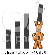 An Orange Man On Another Mans Shoulders Holding Up A Bar In A Graph Clipart Illustration