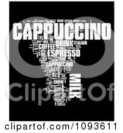 Clipart White Cappuccino Word Collage Over Black Royalty Free Illustration by MacX
