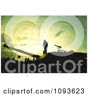 Clipart Silhouetted War Soldiers And Artillery With Texture Royalty Free Illustration by MacX