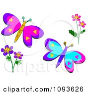 Two Butterflies And Floral Design Elements 1