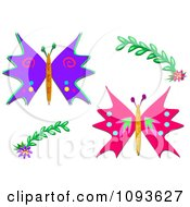 Two Butterflies And Floral Design Elements 2