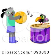 Clipart Dog And Toucan Playing Cymbols And Drums Royalty Free Vector Illustration by bpearth