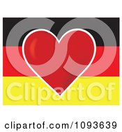 Clipart German Flag With A Red Heart In The Center Royalty Free Vector Illustration by Maria Bell