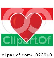 Clipart Hungary Flag With A Red Heart In The Center Royalty Free Vector Illustration by Maria Bell