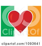 Clipart Irish Flag With A Red Heart In The Center Royalty Free Vector Illustration