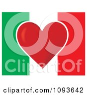 Clipart Italian Flag With A Red Heart In The Center Royalty Free Vector Illustration by Maria Bell