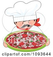 Clipart Itialian Chef Holding A Supreme Pizza Royalty Free Vector Illustration