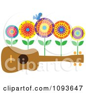 Clipart Bluebird And Flowers On A Ukulele Royalty Free Vector Illustration