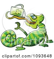 Clipart St Patricks Day Chameleon Drinking Green Beer Royalty Free Vector Illustration by Zooco