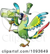 Clipart St Patricks Day Macaw Parrot Drinking Green Beer Royalty Free Vector Illustration by Zooco #COLLC1093649-0152