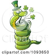 Clipart St Patricks Day Snake Drinking Green Beer Royalty Free Vector Illustration by Zooco