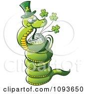 Clipart St Patricks Day Snake Drinking Green Beer Royalty Free Vector Illustration