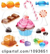 Clipart 3d Candies Sweets And A Cupcake Royalty Free Vector Illustration