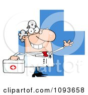 Clipart Waving Caucasian Male Doctor Over A Cross With A First Aid Kit Royalty Free Vector Illustration by Hit Toon