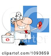 Clipart Waving Caucasian Male Doctor Holding A Ringing Phone Over A Cross Royalty Free Vector Illustration by Hit Toon