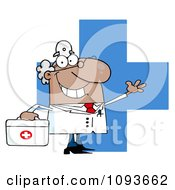 Clipart Waving Hispanic Male Doctor By A Cross With A First Aid Kit Royalty Free Vector Illustration by Hit Toon