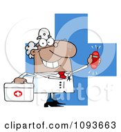Clipart Waving Caucasian Male Doctor With A Cross And Ringing Phone Royalty Free Vector Illustration by Hit Toon