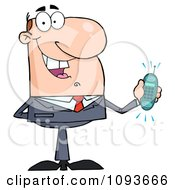 Clipart Caucasian Businessman Holding A Ringing Cell Phone Royalty Free Vector Illustration