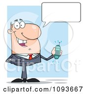 Clipart Talking Caucasian Businessman Holding A Ringing Cell Phone Royalty Free Vector Illustration