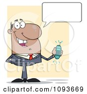 Clipart Talking Hispanic Businessman Holding A Ringing Cell Phone Royalty Free Vector Illustration by Hit Toon
