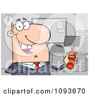 Clipart Caucasian Businessman Holding A Ringing Cell Phone In An Office Royalty Free Vector Illustration