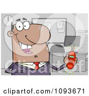 Clipart Hispanic Businessman Holding A Ringing Cell Phone In An Office Royalty Free Vector Illustration by Hit Toon