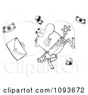 Clipart Outlined Businessman Tripping And Dropping Money Royalty Free Vector Illustration