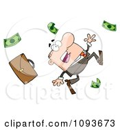 Clipart Caucasian Businessman Tripping And Dropping Money Royalty Free Vector Illustration