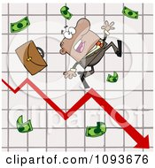 Clipart Hispanic Businessman Tripping And Dropping Money On A Graph Royalty Free Vector Illustration
