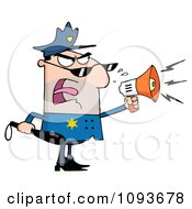Clipart Caucasian Male Police Officer Shouting Through A Megaphone Royalty Free Vector Illustration