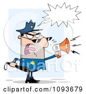 Clipart White Male Police Officer Shouting Through A Megaphone Royalty Free Vector Illustration by Hit Toon