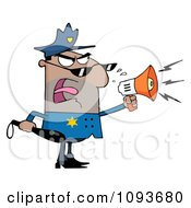 Clipart Hispanic Male Police Officer Shouting Through A Megaphone Royalty Free Vector Illustration