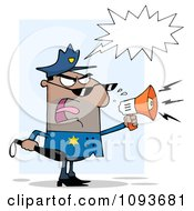 Clipart Hispanic Male Police Officer Screaming Through A Megaphone Royalty Free Vector Illustration by Hit Toon