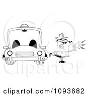 Clipart Strict Black And White Male Police Officer Shouting Through A Megaphone By A Cop Car Royalty Free Vector Illustration by Hit Toon