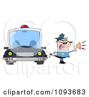 Strict Caucasian Male Police Officer Shouting Through A Megaphone By A Cop Car