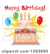 Clipart Happy Birthday Greeting Over A Cake With Three Candles Royalty Free Vector Illustration