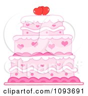 Clipart Pink Heart Cake Royalty Free Vector Illustration