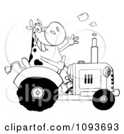 Clipart Black And White Cow Farmer Waving And Driving A Tractor Royalty Free Vector Illustration by Hit Toon
