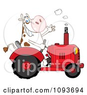 Clipart Cow Farmer Waving And Driving A Red Tractor Royalty Free Vector Illustration