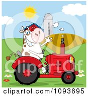 Clipart Cow Farmer Waving And Driving A Red Tractor In A Field Royalty Free Vector Illustration by Hit Toon